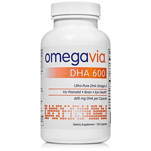 OmegaVia DHA 600 mg Omega-3 Fish Oil, 120 Capsules, Ultra-Pure DHA...
