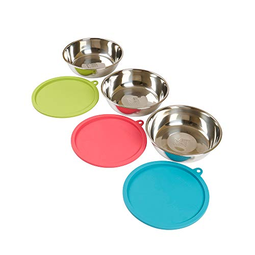 Messy Mutts Box Set with 3 Extra Large Stainless Steel Bowls & 3 Multicolored Silicone Lids