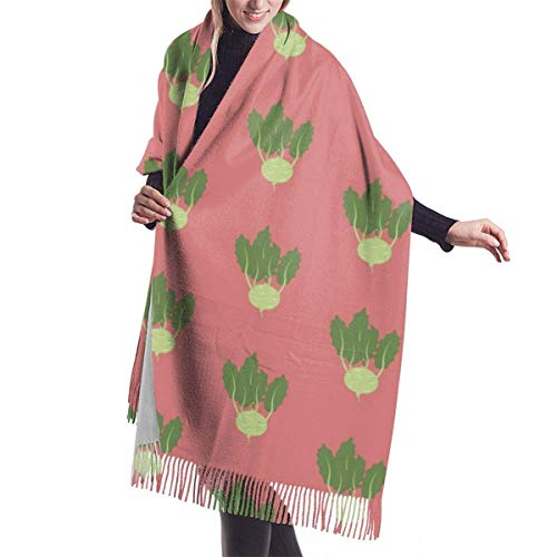 landianguangga Wrap Shawl Large Scarves Fringe Scarf Kohlrabi Vegetable Pattern Womens Classic Winter Warm Cashmere Scarf Shawls