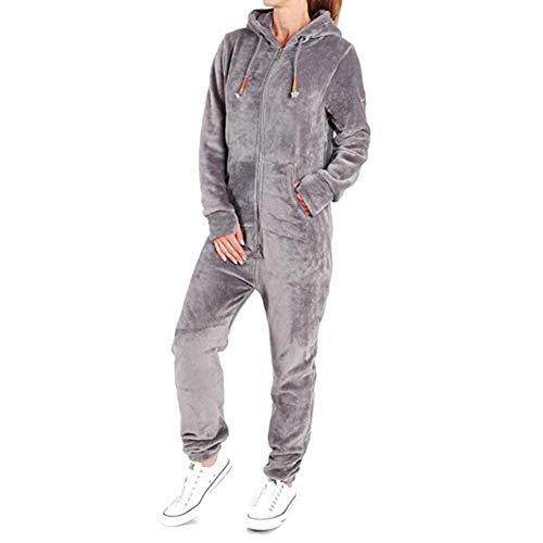 Coospy Damen Jumpsuit Teddy Fleece. Elegant, Kuschelig, Weich, Ganzkörperanzug, Einteiler Overall Anzug Flauschig (Grau,XS)