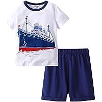 HMBEIXYP Toddler Boys Summer Shirt and Pants Set (various)