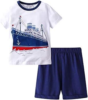 HMBEIXYP Toddler Boys Summer Shirt and Pants Set