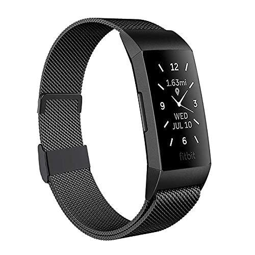 Moydolo Compatibile con Fitbit Charge 3 Strap/Charge 4, da uomo e da donna, in acciaio inox, con chiusura magnetica regolabile, cinturino di ricambio per Charge3/Charge 4/Charge 3 SE, Groß,
