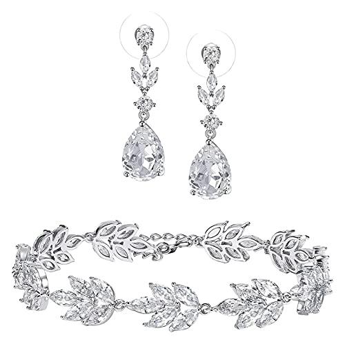 Lzpzz Pendientes y pulseras de circonita cúbica, joyería nupcial para mujeres, damas de honor, novias