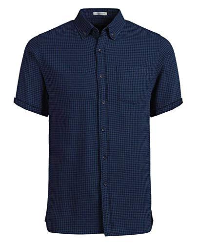 JACK & JONES Herren Kurzarm Hemd Trachtenhemd jjcoFIX jcoTIM jorJOHAN Kariert Slim Fit (M, Blau (Navy Blazer Fit:SLIM jorJOHAN))