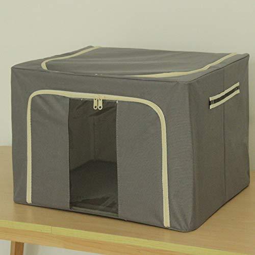 XJZKA Caja de Almacenamiento de Tela Oxford, Marco de Acero Plegable, Caja de Almacenamiento de Ropa, Caja de Almacenamiento para el hogar, 40 * 50 * 35 cm, Gris Oscuro
