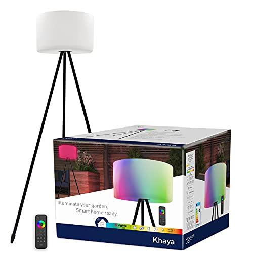 tint Müller-Licht Khaya - Lámpara LED de pie para exteriores (con bombilla E27, 143 cm de alto, protección contra salpicaduras IP44), funciona con Alexa, incluye mando a distancia