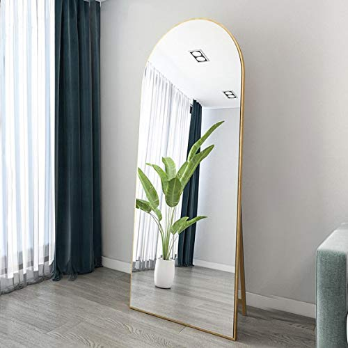 OGCAU Full Length Floor Mirror Wall Mirror Standing Hanging or Leaning Against Wall for Bedroom, Arched-Top Mirror, Large Arched Mirror, Wall Mirror for Bedroom Living Room (Gold)
