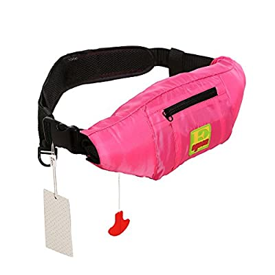 Lifesaving Pro Premium Belt Pack PFD Universal 33G Manual Waist Inflatable Lifejacket Survival Buoyancy Adult Life Jacket Vest - Pink