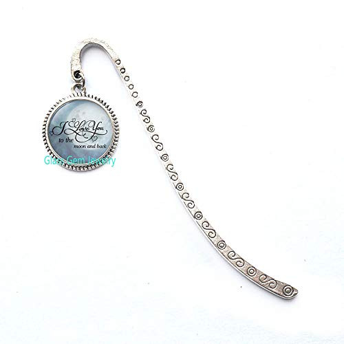 Segnalibro con scritta'I Love You to The Moon and Back', idea regalo per anniversario, regalo di San Valentino, Q0197