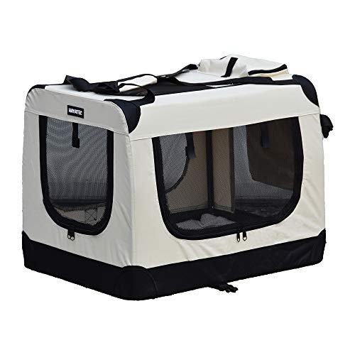 Alaskaprint Hundetransportbox Klappbare Hundebox faltbar Katzenbox Auto Transportbox Reisebox für Tiere Hunde Transporttsche mit Gurt aus wassserdichte Oxford Gwebe XL Beige