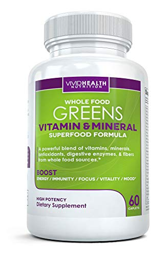 Whole Food Greens Multivitamin - All-Natural Whole Food Sourced Vitamin and Mineral Supplement for Men and Women - Supports Daily Health with Enzymes, Probiotics and Antioxidants (60 Tablets)