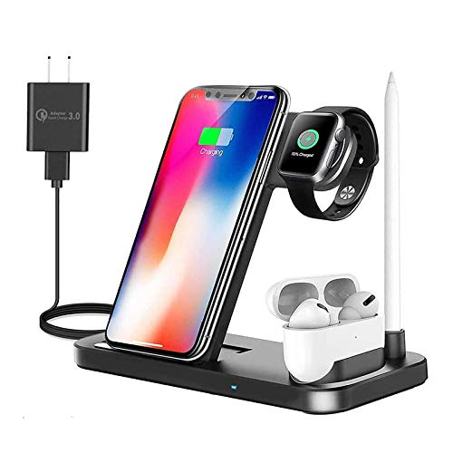 Wireless Charging Station, Earteana 4 in 1 Wireless Charger for Apple Watch SE/6/5 4/3/2/1, Airpods & Pencil, Fast Charging Stand for iPhone 12/11/11pro/11pro Max/X/XS/XR/Xs Max