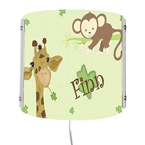 CreaDesign WA-1077, Giraffe-Affe, Kinderzimmer Wandlampe personalisiert mit Namen, Nachtlicht/Schlummerlicht für Steckdose, E14, 22 x 22,5 x 85 cm