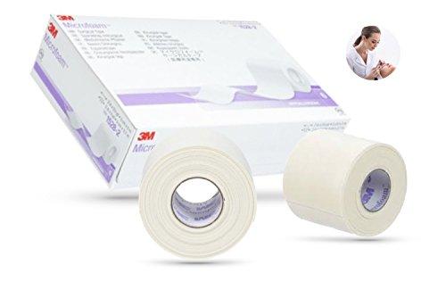 3M Microfoam Tape Lot de 4 extensions de cils sans allergènes Idéal pour les clients sensibles Bande respirante extrêmement douce pour la peau 2,5 cm