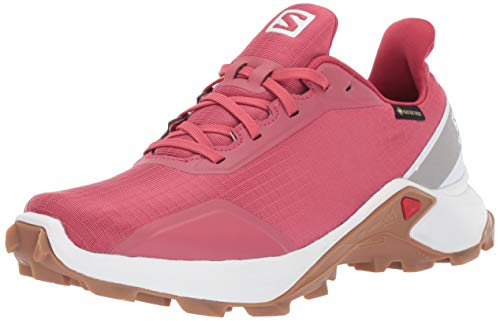 Salomon Women's ALPHACROSS GTX W Trail Running Shoe, Garnet Rose/White/GUM1A, 10