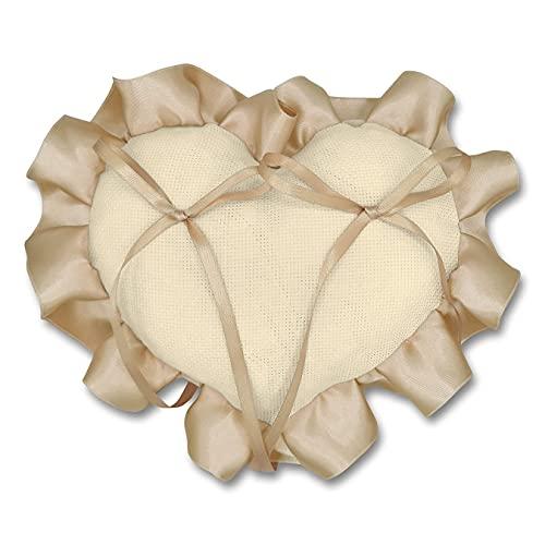 Crociedelizie, Cuscino portafedi cuscinetto fedi in tela aida colore ecrù avorio rifinitura volant in raso da ricamare a punto croce