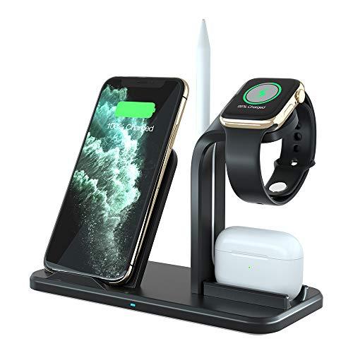 Ladestation Ständer für Apple Watch 6/5/4/3/2/1 (QC3.0 Adapter Enthalten) Schnelles kabelloses Induktives Ladegerät für AirPods,iWatch,iPhone 11 Pro/11/XS MAX/XR/X/8,Samsung Galaxy S10/S9/S8 und mehr