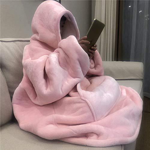 HLYANWEN Sweatshirt Deck,Übergroße Hoodie Sweatshirt Decke Winter Super Weiches Flanell Plüsch Jacke Pullover Rosa Sherpa Decke Mit Ärmeln Nach Hause Bademantel Bademantel Riese Hoodie