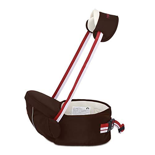 SONARIN Multifuncional Hipseat Baby Carrier,Portador de bebé,Tamaño Gratuito, asiento de asiento para niños pequeños,Cinturón Frontal,4 Posiciones de Carrying,Regalo Ideal(Marrón)