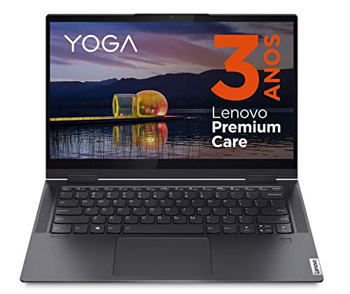 Lenovo Yoga 7 - Ordenador Portátil táctil Convertible 14' FullHD (Intel Core i7-1165G7, 16GB RAM, 1TB SSD, Intel Iris Xe Graphics, Windows 10 Home), Lenovo Digital Pen, Gris, Teclado QWERTY Portugués