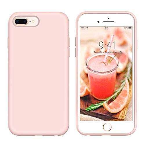YINLAI iPhone 8 Plus Case Slim Silicone, iPhone 7 Plus Case Light Pink, Non Slip Grip Soft Rubber Cover Hybrid Hard Back Protective Bumper Shockproof Durable Sturdy Girls Women Phone Cases, Light Pink