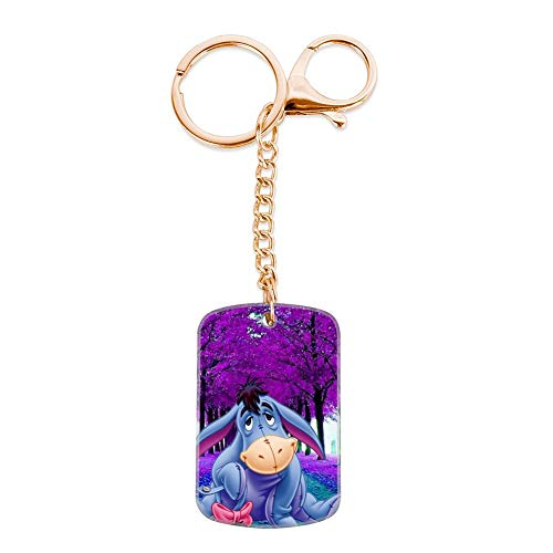 DISNEY COLLECTION Winnie Pooh Eeyore Keychain Golden Handbag Purse Hanging Charms with Carabiner Clip Best Gift for Women Girls Men Husband Wife