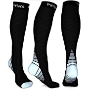 Physix Gear Compression Socks for Men & Women 20-30 mmhg, Best Graduated Athletic Fit for Running Nurses Shin Splints Flight Travel & Maternity Pregnancy - Boost Stamina Circulation & Recovery GRY LXL