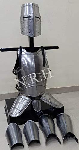 Nautische Replik Hubrüstung Tempelritter Helm Arm- und Beinschutz, Mittelalter-Templer, Brustplatte, Ganzkörper-Kostüm