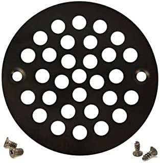Oil Rubbed Bronze Round Shower Grate Drain 4'' Replacement Cover + Tapping & Machine Screws