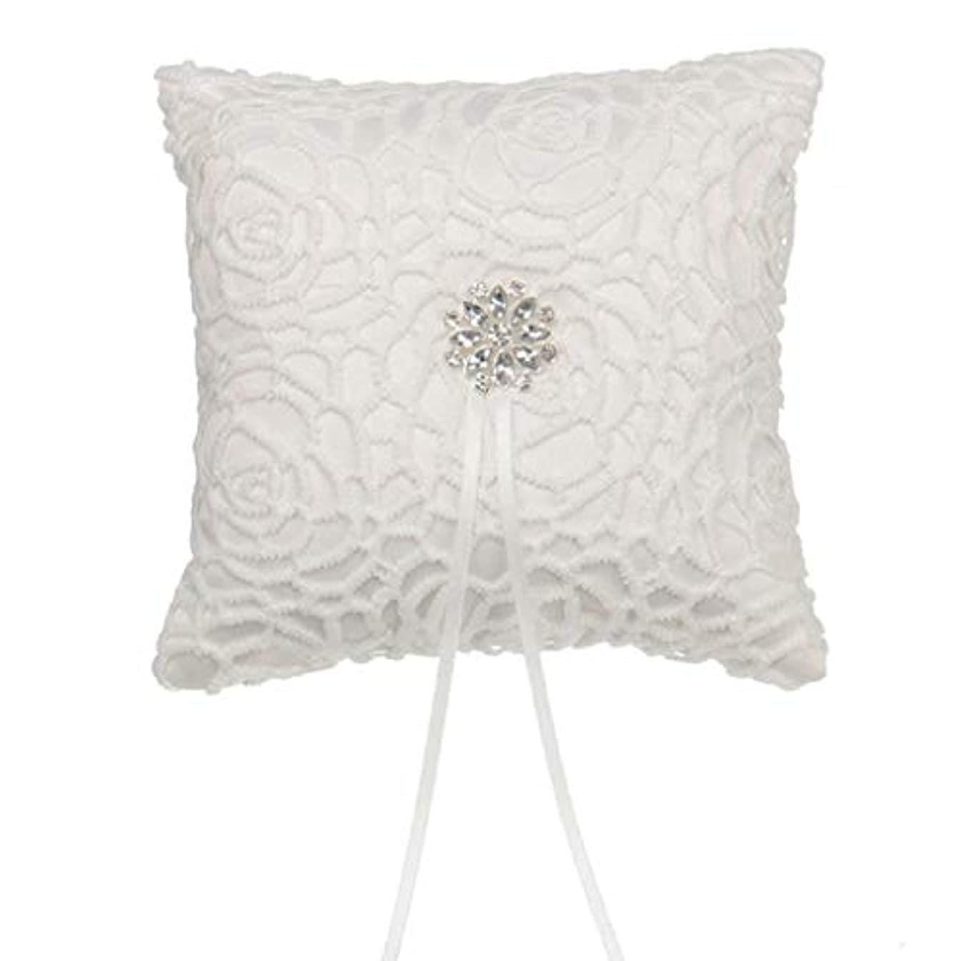 Beautiful White Flower Shape With Flash Diamond Romantic Wedding Ring Pillow Cushion