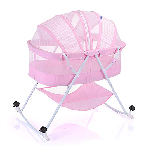 Best Prices! KEOA 2in1 Bassinet, Newborn Baby Travel Crib One-Second Fold Aluminum Alloy Wheeled Mosquito net Hypoallergenic Breathable for 0-12 Months,Pink