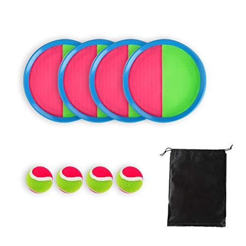 Locisne Toss y Catch Paddle Game Set Disco de paletas y Juego de Lanzamiento de Pelota Juego Atrapa Pelotas 4 paletas y 4 Bolas