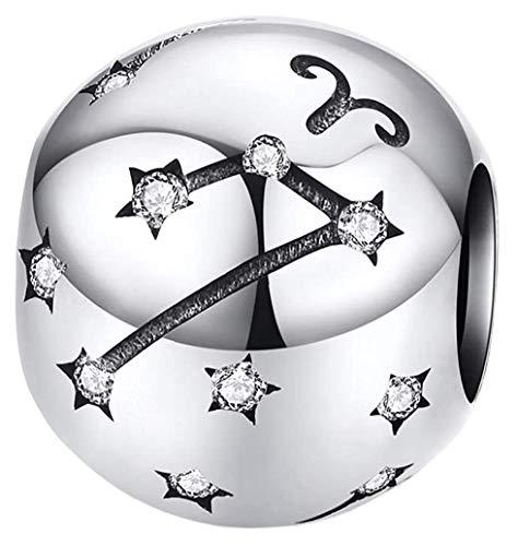 Maria Fonte - Colgantes con dijes de Cuentas Que representan Signos del Zodiaco en Plata de Ley 925, Compatible con Las Marcas más Populares de Pulseras y Collares. (Aries: 21/03-19/04)