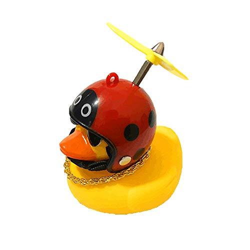 LDGG Juguete de pato de goma amarillo con casco de hélice, adornos de coche, decoraciones de tablero de instrumentos de coche, juguete de pato para adultos, niños