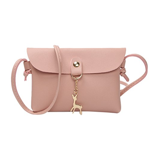 Yuncai Mode Damen Kleine Umhängetasche Schultertasche Mit Reh Anhänger Elegant Mini Handtaschen Pink