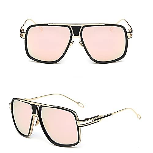 NIUBKLAS Gafas de sol cuadradas de piloto para hombre, gafas de sol de marca de lujo para hombre, gafas de sol de diseñador de metal, espejos retro 1-JR6615-C6