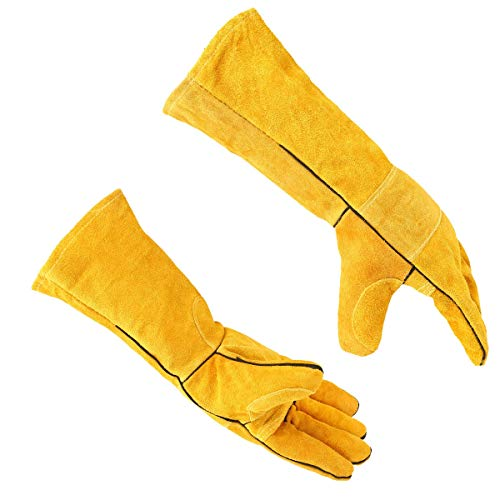 Safety Work Gloves, Leather Protective Gloves, Heat/Fire Resistant,Mitts for BBQ,Oven,Grill,Fireplace,Tig,Mig,Baking,Furnace,Stove,Animal Handling Glove(Yellow)