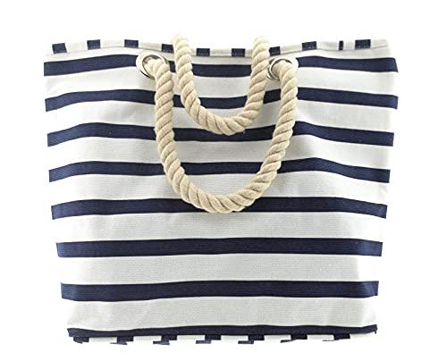 MC Trend XL bolsa de playa comprador con bolsillo interior bolsa de playa grande bolso de hombro para las vacaciones 54 x 37 x 17 (Blanco/Azu)