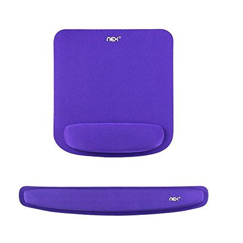 NEX Memory Foam Mouse Pad & Keyboard Wrist Rest Kit for Computer Laptop (Purple)
