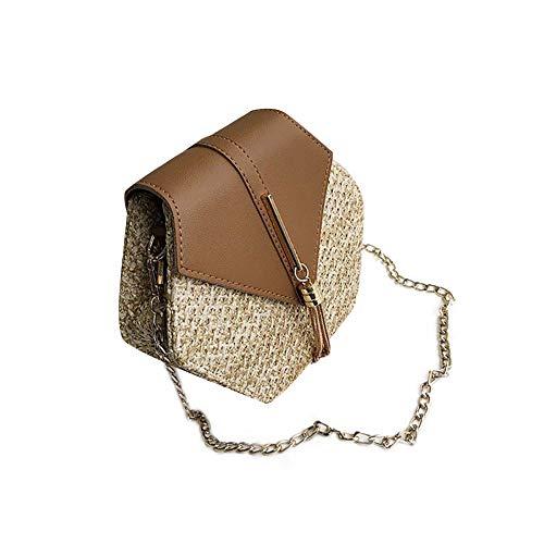 YOUNICER bolso de hombro cruzado de verano para mujer bolso de playa hecho a mano con bolso de mimbre con borlas