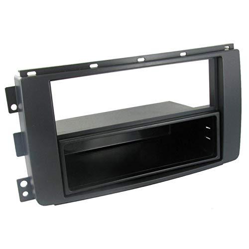 Sound-way Kit Montaggio Autoradio, Mascherina 1 DIN / 2 DIN con Cassetto, compatibile con Smart Car ForTwo, Smart ForFour