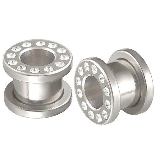 bodyjewelry top tunnle steel w/gem cl 10mm-de