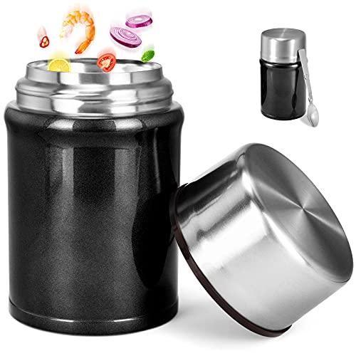 Buluri Termo para Comida 750 ml- Fiambrera Portátil Termo de Acero Inoxidable para Alimentos con Cuchara Plegable, Adecuada para Adultos, Niños y Bebés (Negro)