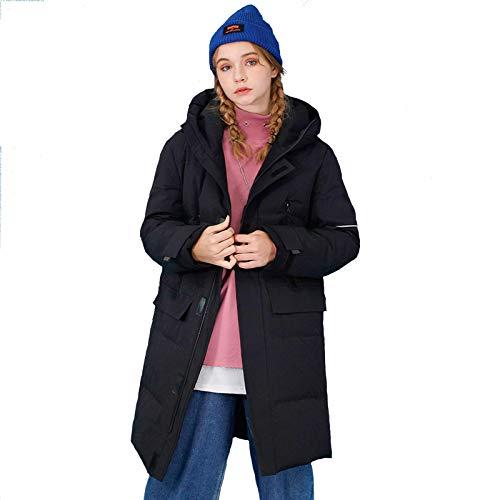 WAY Chaqueta de plumón de pato blanco de invierno de 2020, larga moda, para mantener el calor, con capucha, para parejas, para exteriores, color negro, XXXL