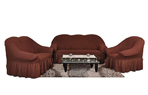 Sofaueberwurf elastisch / 3 Sitzer bezug / aus Baumwolle & Polyester in braun