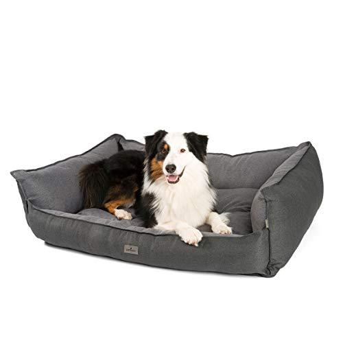 JAMAXX Premium Hundebett - Orthopädisch Memory Visco Füllung, Extra-Hohe Ränder, Waschbar, Nässe-Schutz, Hochwertiger Stoff mit viel Eleganz, Hundesofa PDB2018 (L) 120x90 anthrazit