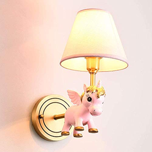 Classic Creative Kids Wall Lights Gold Cartoon Wall Lamp Copper and White Textile Screen E14 Bulb Childrens Room Boy and Girl Bedroom Sconces,Pink
