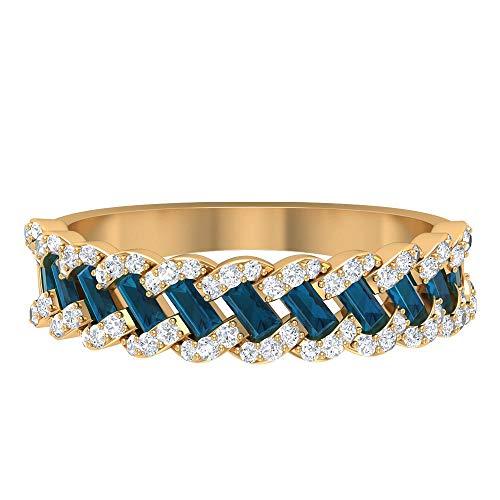 Rosec Jewels 10 quilates oro amarillo baguette round-brilliant-shape H-I Blue Diamond Topacio azul - Londres