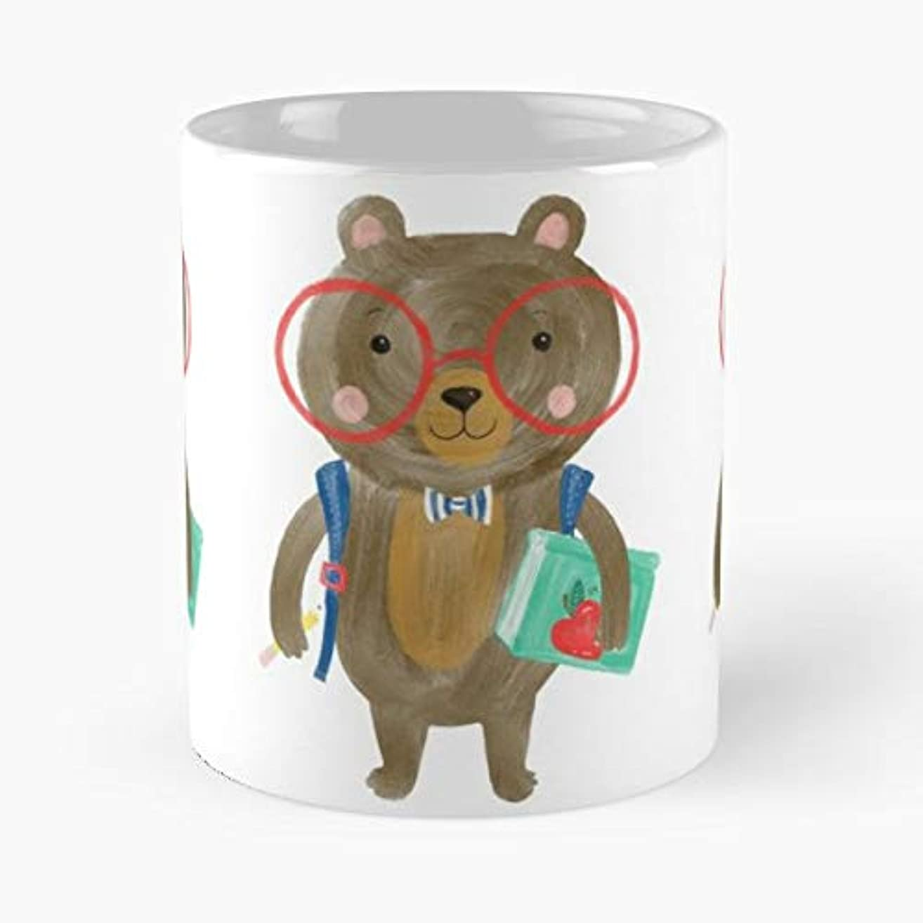 Brown Bear Red Glasses Bow Tie - Best Gift Ceramic Coffee Mugs